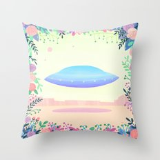 Floral UFO 1 Throw Pillow