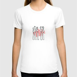 People with Red Lines T-shirt