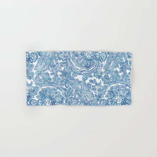Blue Boho Paisley Pattern II Hand & Bath Towel