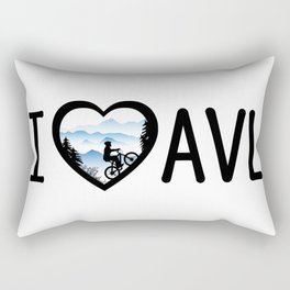 I Love Asheville - Mountain Biking - AVL 4 White Rectangular Pillow