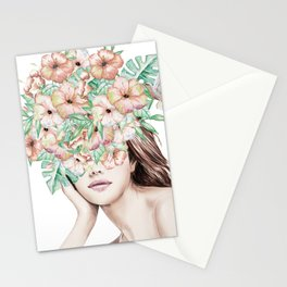 She Wore Flowers in Her Hair Island Dreams Stationery Cards