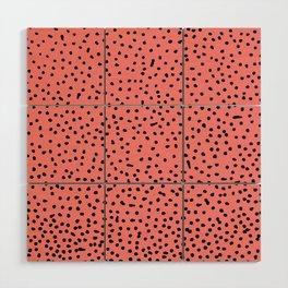 Black Dots on Coral Wood Wall Art