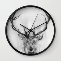 europe Wall Clocks featuring Red Deer by Alexis Marcou