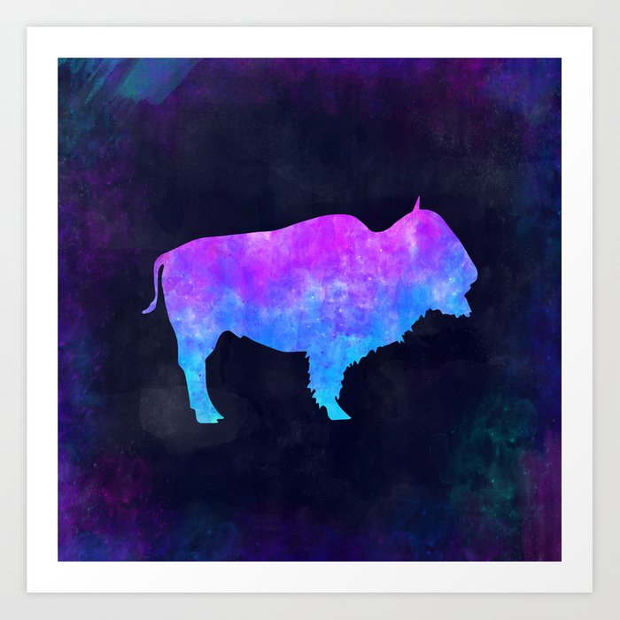 BUFFALO IN SPACE // Animal Graphic Art // Watercolor Canvas Painting // Modern Minimal Cute Art Print