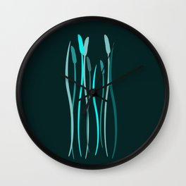 Turquoise Grasses Wall Clock