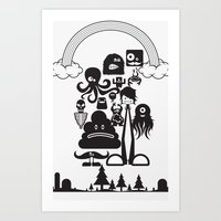 monster inc Art Prints featuring Monster Collection Inc  by Dei Hendrick
