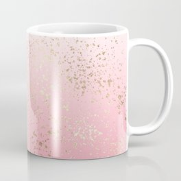 Pink White Ombre Speckled Gold Flakes Coffee Mug