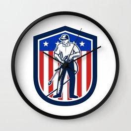 American Pressure Washing USA Flag Shield Retro Wall Clock
