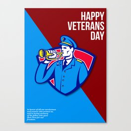 Modern Veterans Day Soldier Bugle Greeting Card Canvas Print
