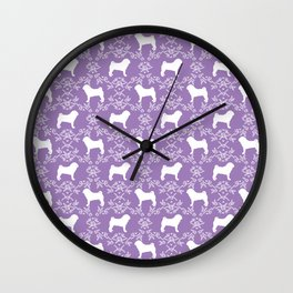Pug silhouette florals purple pattern for pug dog lover pet pattern gifts Wall Clock