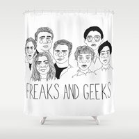 cactei Shower Curtains featuring Freaks and Geeks by ☿ cactei ☿