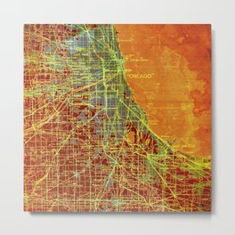 Chicago orange old map Metal Print