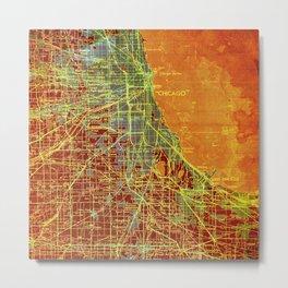 Chicago orange old map Metal Print