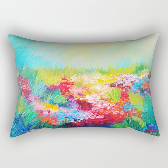 ETHERIAL DAYS - Stunning Floral Landscape Nature Wildflower Field Colorful Bright Floral Painting Rectangular Pillow