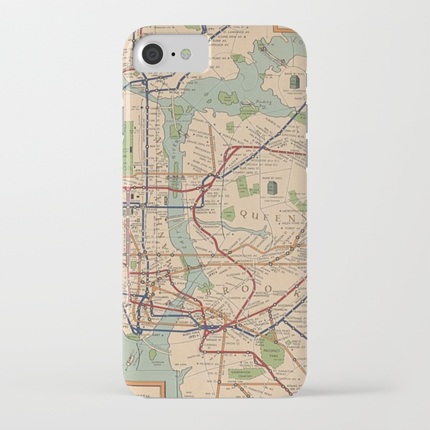 Portable Nyc Subway Map.New York City Metro Subway System Map 1954 Iphone Case