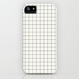 Black Grid on White iPhone Case