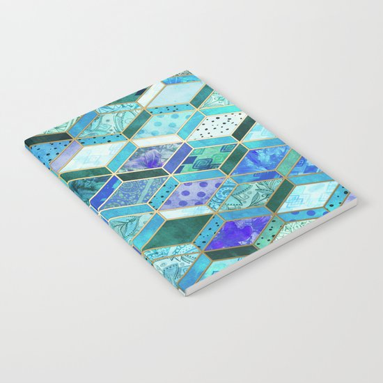 Sapphire & Emerald Diamond Patchwork Pattern Notebook