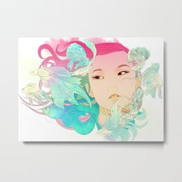 Fish Lady Metal Print