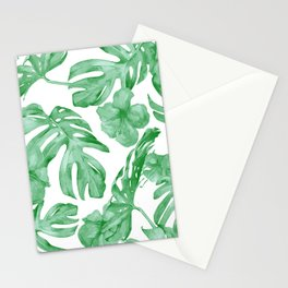 Tropical Island Leaves Green on White Stationery Cards