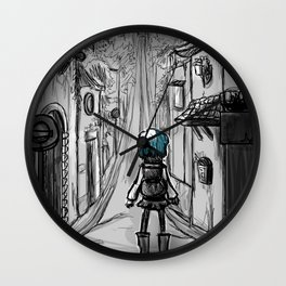 Uphill road Wall Clock