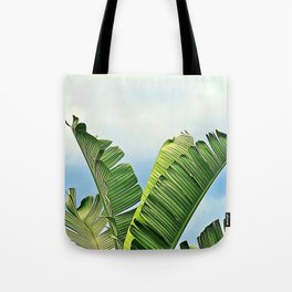 Frayed Palm Fronds Against Blue Sky Tote Bag