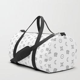 Gemini/Virgo + Sun/Moon Zodiac Glyphs Duffle Bag