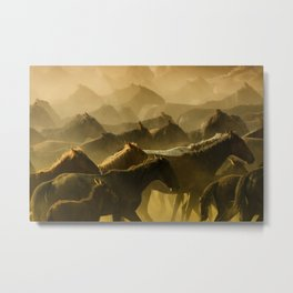 Herd of Wild Horses Running in Dust Metal Print