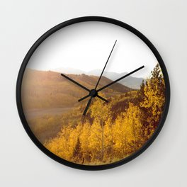 The Golden Fire Just Before Sunset Wall Clock
