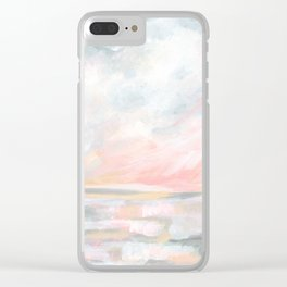Overwhelm - Pink and Gray Pastel Seascape Clear iPhone Case