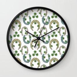 Horseshoes & Clovers Wall Clock