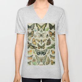 Vintage Butterfly Diagram // Papillions by Adolphe Millot XL 19th Century Science Textbook Artwork Unisex V-Neck