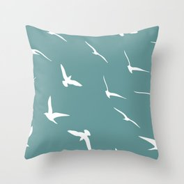 Flying Seagulls  on teal Throw Pillow