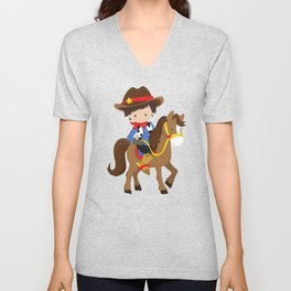 Little Cowboy, Cowboy On Brown Horse, Brown Hair Unisex V-Neck