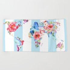 Floral World Stripe Beach Towel