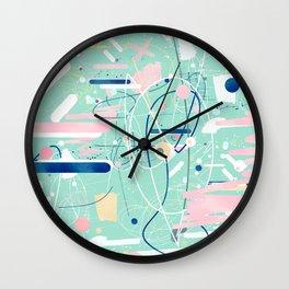 Modern mint strokes and dots creative art Wall Clock