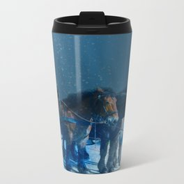 Horse drawn carriage from the sky Travel Mug
