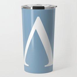 Greek letter lambda sign on placid blue background Travel Mug