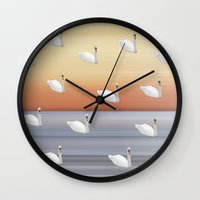 swan Wall Clocks featuring Swan by Fine Art by Rina