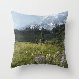 Wildflowers and Mount Rainier Throw Pillow