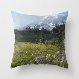 Wildflowers and Mount Rainier Throw Pillow