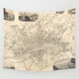 Vintage Map of Glasgow Scotland (1851) Wall Tapestry