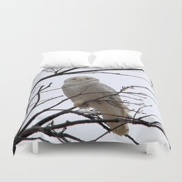 Snowy Owl in the Treetop Duvet Cover
