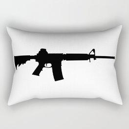 AR15 in black silhouette on white Rectangular Pillow
