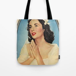 ELIZABETH TAYLOR PRAYING - MODERN SCREEN MAGAZINE Tote Bag