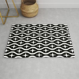 Mid century Modern Bulbous Star Pattern Black and White 2 Rug