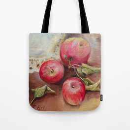 RED APPLES on the table Classic Still life Painting Tote Bag