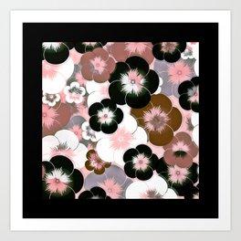 Abstract mauve pink brown black floral Art Print