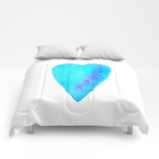 Turquoise Heart Full Of Love Watercolor Comforters
