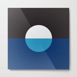 Minimalist Blue & White Circle Metal Print