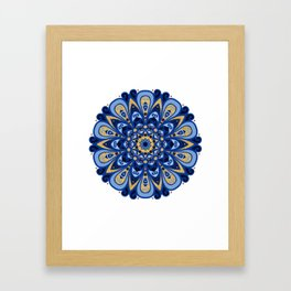 Ocean Blues & Golden Beach Sand Mandala Framed Art Print